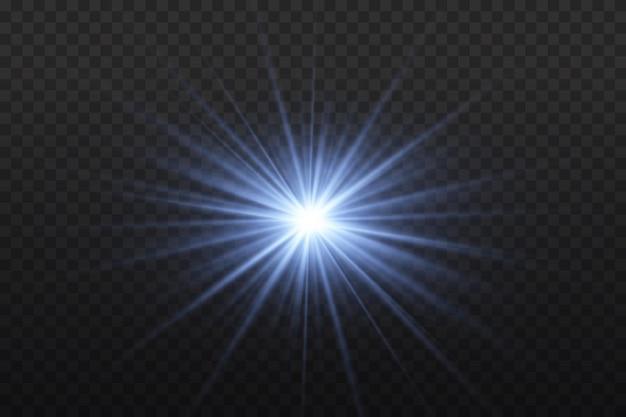 Luz azul brilhante. sol brilhante estrela brilhando