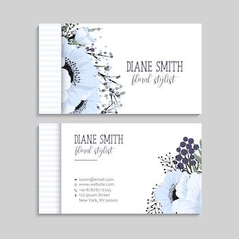 Luz azul cartões de visita modelo de flor