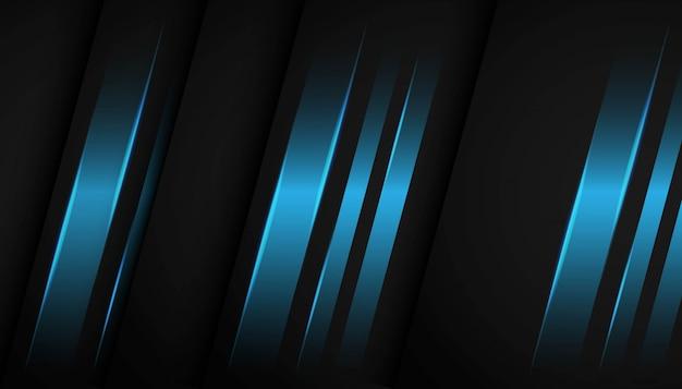 Luz azul geométrica abstrata no fundo escuro.