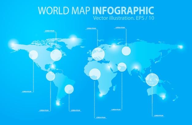 Luz azul mapa do mundo, infográficos. ilustração vetorial