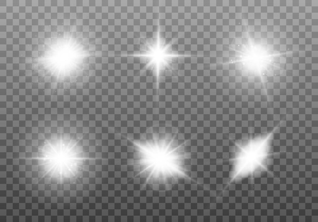 Luz branca brilhante. conjunto de estrela brilhante. sol brilhante transparente