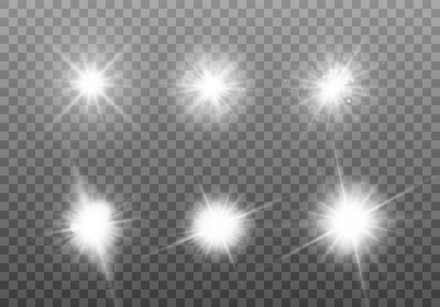 Luz branca brilhante. conjunto de estrela brilhante.