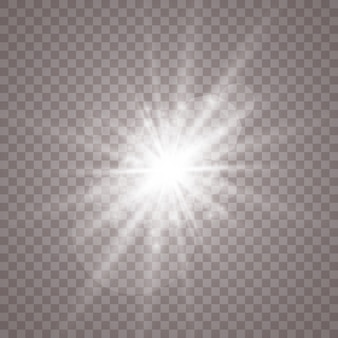 Luz branca brilhante. estrela brilhante, sol brilhante.