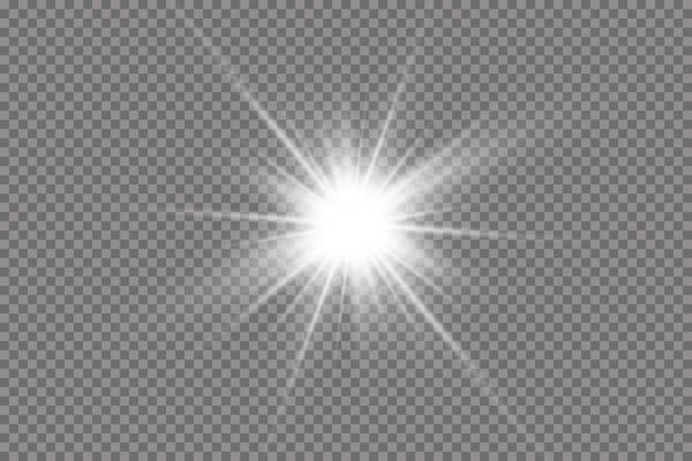 Luz branca brilhante explode. com raio. sol brilhante e transparente, flash brilhante. efeito de luz de reflexo de lente especial.