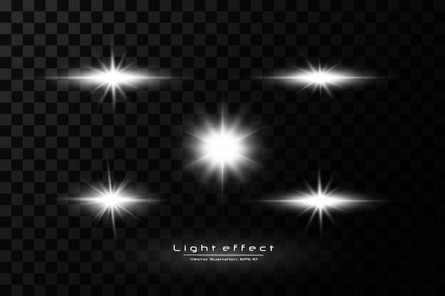 Luz branca brilhante explode em um fundo transparente. com raio. sol brilhante e transparente, flash brilhante. efeito de luz especial de reflexo de lente.