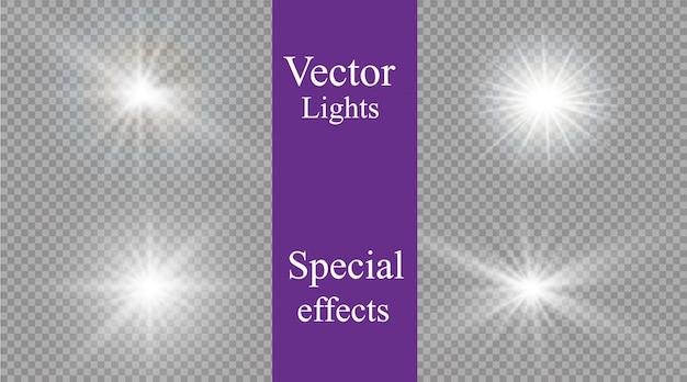 Luz branca brilhante explode em um transparente