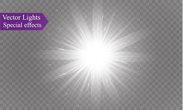 Luz branca brilhante explode. estrela brilhante. sol brilhante e transparente, flash brilhante.