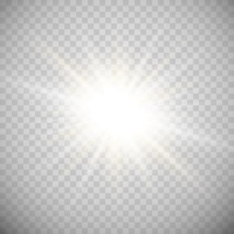 Luz branca brilhante explode. partículas de poeira mágica cintilante. estrela brilhante. sol brilhante e transparente, flash brilhante. brilhos de vetor.
