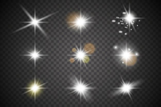 Luz branca brilhante explode. partículas de poeira mágica cintilante. estrela brilhante. sol brilhante e transparente, flash brilhante.
