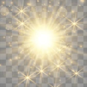 Luz branca brilhante explosão explosão com transparente.