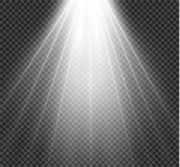 Luz branca brilhante explosão explosão em fundo transparente. ilustração efeito de luz decoração com ray. estrela brilhante. sol de brilho translúcido, brilho intenso. centre o flash vibrante.