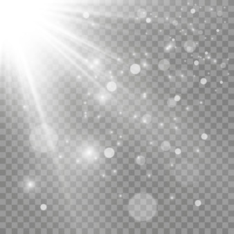 Luz branca brilhante. linda estrela luz dos raios. sol com reflexo de lente. linda estrela brilhante. luz solar.