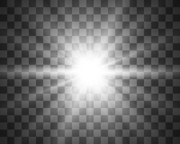 Luz branca brilhante. linda estrela luz dos raios. um sol com reflexos. uma bela estrela brilhante. uma luz do sol.