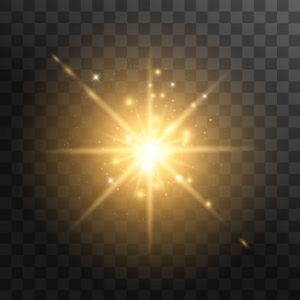 Luz brilhante amarela explode em um fundo transparente. com raio. sol brilhante e transparente, flash brilhante