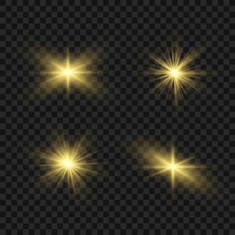 Luz brilhante amarela explode em um fundo transparente. estrela brilhante.