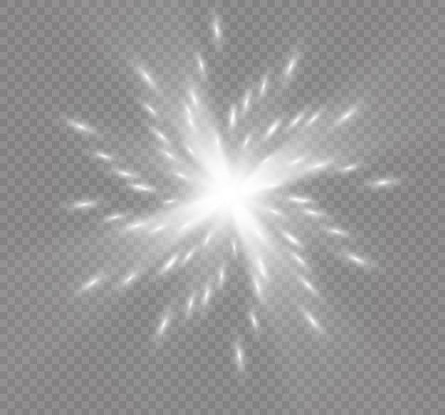 Luz brilhante branca estourou a explosão em fundo transparente. ilustração decoração de efeito de luz com ray. estrela brilhante. sol de brilho translúcido, reflexo brilhante. centro de flash vibrante. estrela e sol
