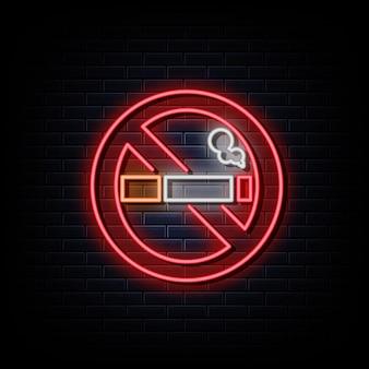 Luz brilhante do letreiro luminoso de néon proibido fumar