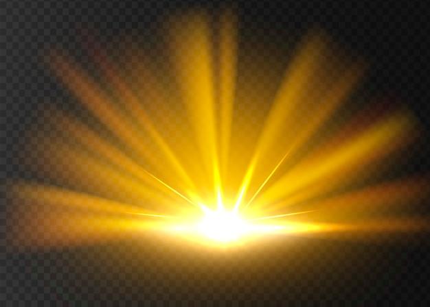 Luz brilhante dourada abstrata.