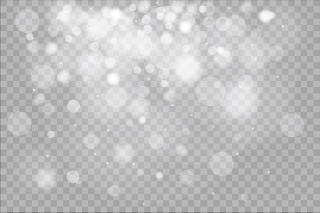 Luz brilhante, estrelas, partículas, energia em plano de fundo transparente.