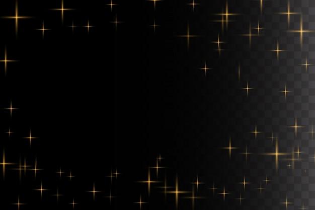Luz brilhante explode. partículas de poeira mágica cintilante. estrela brilhante. sol brilhante e transparente, flash brilhante. brilhos de vetor.