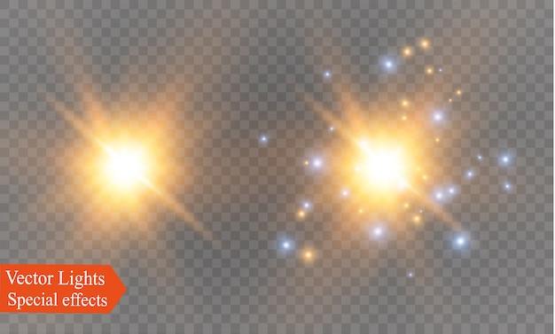 Luz brilhante explode. partículas de poeira mágica cintilante. estrela brilhante. sol brilhante, flash brilhante.