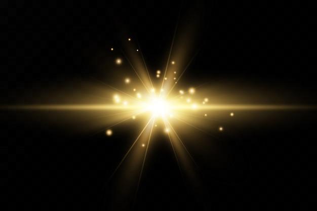 Luz brilhante ouro explode em um fundo transparente. com raio. sol brilhante e transparente, flash brilhante. efeito de luz de reflexo de lente especial.
