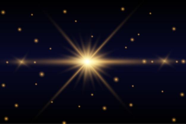 Luz brilhante ouro explode em um fundo transparente. partículas de poeira mágica cintilante. estrela brilhante. sol brilhante e transparente, flash brilhante.
