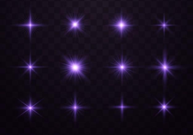 Luz brilhante roxa. efeito brilhante azul e violeta.