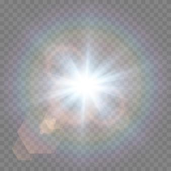 Luz com reflexos de lente em fundo transparente