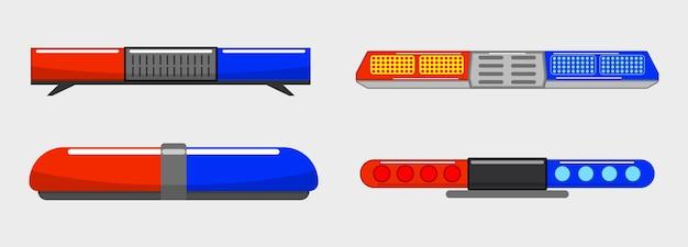 Luz da sirene da polícia realista pisca-pisca isolado luz de emergência vermelho azul sirene led pisca-pisca