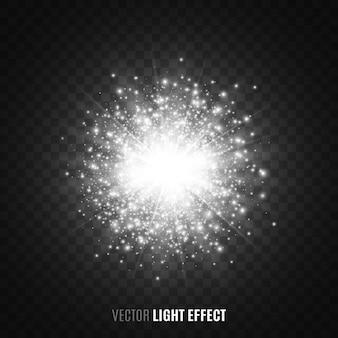 Luz das estrelas branca em fundo transparente. flares, brilhos. efeito de luz. partículas brilhantes. luzes brilhantes.