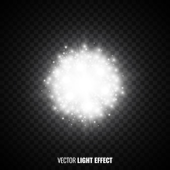 Luz das estrelas branca em fundo transparente. flares, brilhos. explosão. efeito de luz. partículas brilhantes. luzes brilhantes. ilustração.