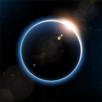 Luz das estrelas por trás do planeta com reflexo de lente.
