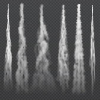 Luz de condensação de aeronaves trilhas de fumaça no céu