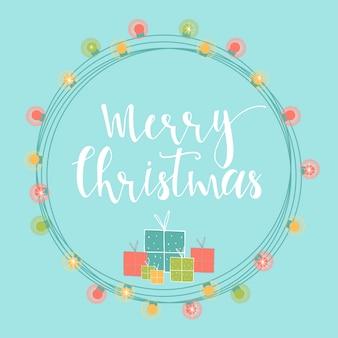 Luz de fundo abstrato de natal com letras de mão desenhada. ilustração de férias de inverno com presentes e guirlandas. Vetor Premium