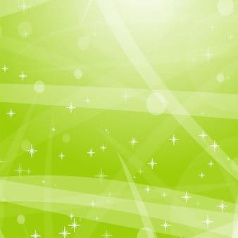 Luz de fundo abstrato verde com estrelas, círculos e listras.