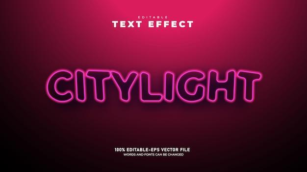Luz de néon da cidade modelo de efeito de texto 3d editável vetor premium