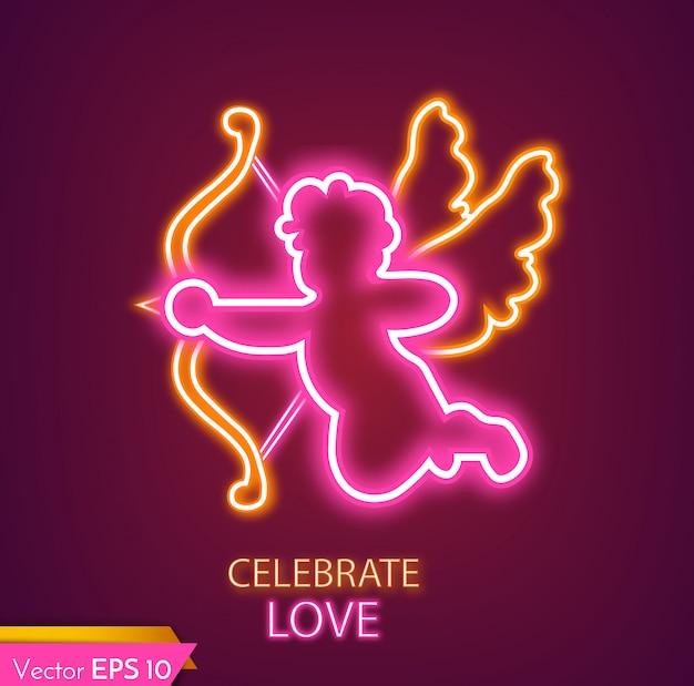 Luz de néon de cartão de cupido