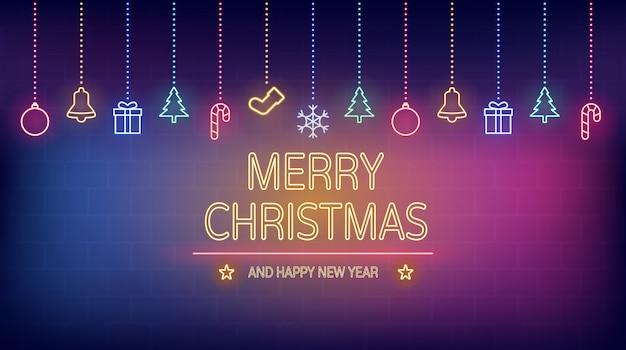 Luz de neon de feliz natal e feliz ano novo na parede de tijolo