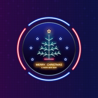 Luz de neon de feliz natal e feliz ano novo no rótulo do círculo