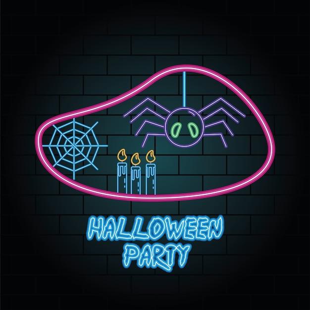 Luz de néon de festa de halloween de aranha pendurada ilustração vetorial design