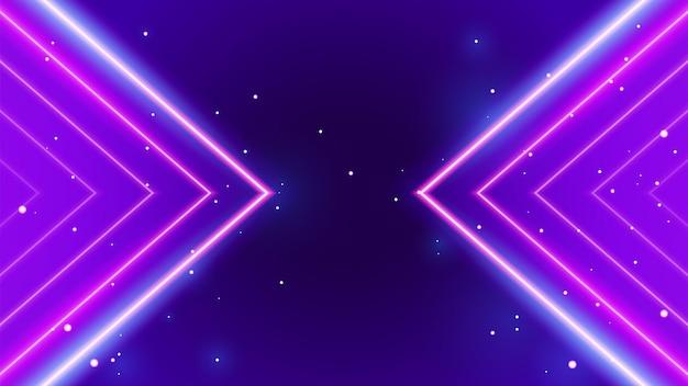 Luz de néon de seta geométrica retrô brilhando em roxo com fundo estrelado