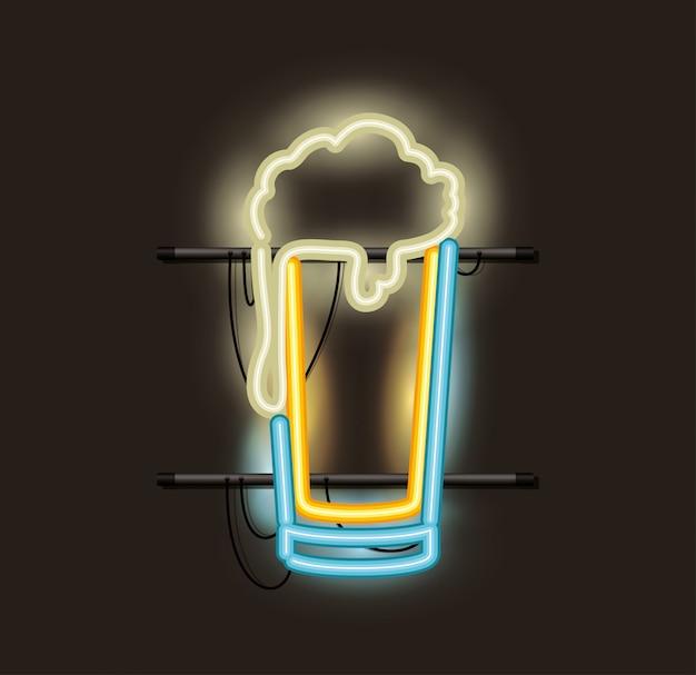 Luz de néon de vidro de cerveja