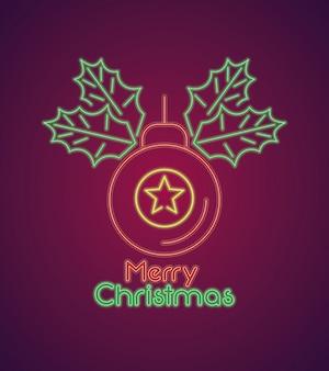 Luz de néon do cartão do feliz natal