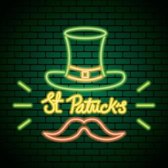 Luz de néon do saint patrick day com ilustração de chapéu de duende e bigode