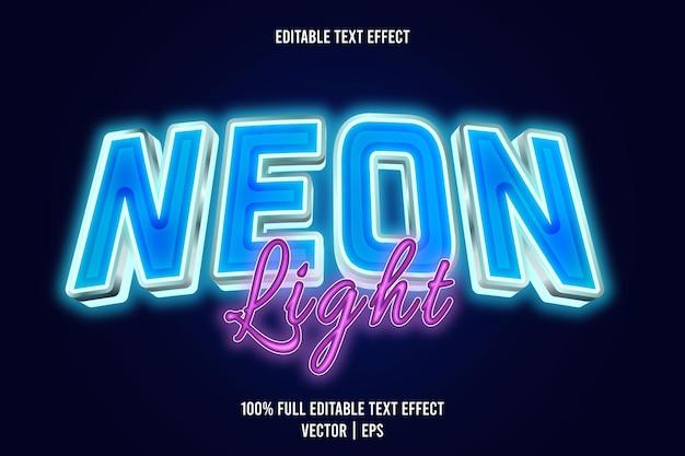 Luz de néon editável com efeito de texto de 3 dimensões em relevo estilo néon