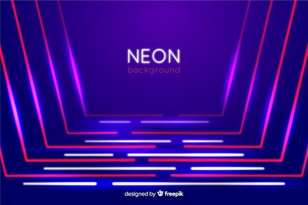 Luz de neon em forma de linha no palco