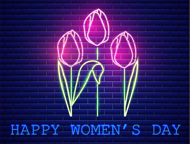 Luz de néon feliz do ramalhete da tulipa do dia da mãe