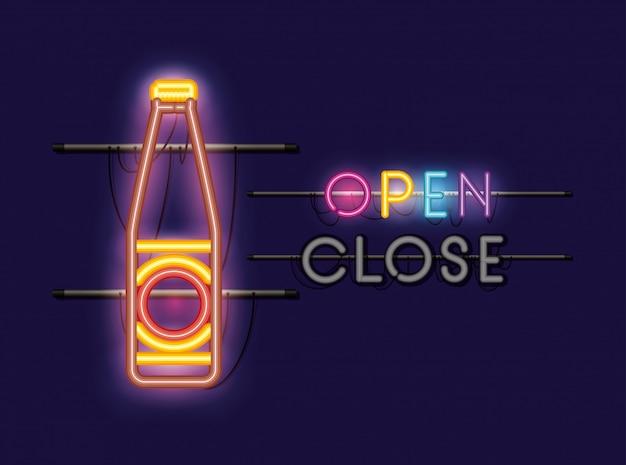 Luz de néon garrafa de cerveja