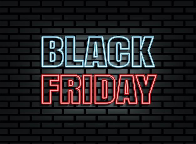 Luz de néon preta de venda na sexta-feira no fundo da parede de tijolos
